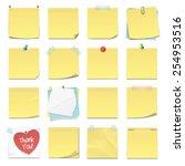 set of sixteen different yellow ... | Shutterstock .eps vector #254953516
