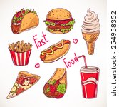 set with various fast food. hot ... | Shutterstock .eps vector #254958352