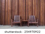 wooden chair on the  in front... | Shutterstock . vector #254970922
