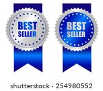 best seller award ribbon blue... | Shutterstock .eps vector #254980552