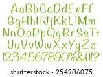 3d green alphabets big and... | Shutterstock . vector #254986075