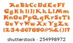 3d orange alphabet with numbers ... | Shutterstock . vector #254998972