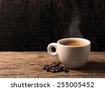 cup of hot espresso coffee and... | Shutterstock . vector #255005452