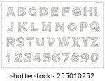 sketch alphabet and number on... | Shutterstock .eps vector #255010252