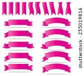 ribbon banner set on white... | Shutterstock .eps vector #255019816