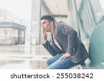 young handsome man with short... | Shutterstock . vector #255038242