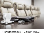 closeup of briefcase  cup and... | Shutterstock . vector #255044062