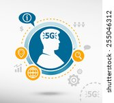 5g sign icon and male avatar... | Shutterstock .eps vector #255046312