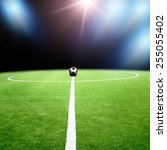 soccer stadium with the lights | Shutterstock . vector #255055402