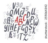 alphabet. hand drawn letters.... | Shutterstock .eps vector #255064342