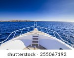 white yacht drifting in the... | Shutterstock . vector #255067192