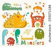cartoon cute monsters   Shutterstock .eps vector #255071188