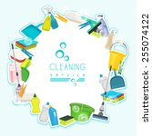 poster design for cleaning... | Shutterstock .eps vector #255074122