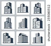 vector city buildings icon set | Shutterstock .eps vector #255080512