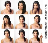 collection of nine portrait... | Shutterstock . vector #255084778