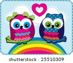 cute owls in love vector graphic | Shutterstock .eps vector #25510309