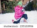 Little Cute Girl Standing On...