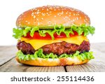Tasty and appetizing hamburger...