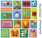 soccer and football flat icon... | Shutterstock .eps vector #255121756