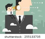 young businessman looking... | Shutterstock .eps vector #255133735