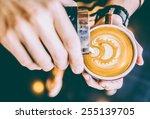 latte art coffee cup   vintage... | Shutterstock . vector #255139705