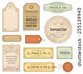 collection of textured vintage... | Shutterstock .eps vector #255139945