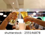 clinking glasses of dinner in a ... | Shutterstock . vector #255146878