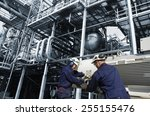 oil and gas workers inside... | Shutterstock . vector #255155476