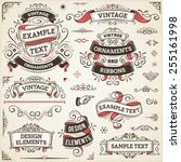 large set of vintage vector... | Shutterstock .eps vector #255161998