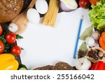 set of vegetables and spices on ... | Shutterstock . vector #255166042