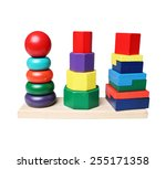 wooden pyramid stacking rings... | Shutterstock . vector #255171358