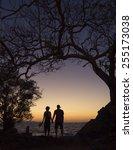 silhouette loving couple... | Shutterstock . vector #255173038