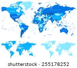 blue world map   borders ... | Shutterstock .eps vector #255178252
