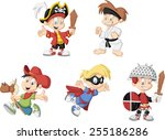 group of cartoon boys wearing... | Shutterstock .eps vector #255186286