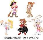 Group Of Cartoon Girls Wearing...