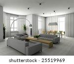 modern interior. 3d render.... | Shutterstock . vector #25519969