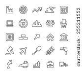 25 outline  universal economy... | Shutterstock . vector #255211552