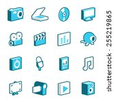 collection of blue multimedia... | Shutterstock .eps vector #255219865
