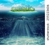underwater. abstract vacation... | Shutterstock . vector #255223606