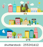 small town urban landscape in... | Shutterstock .eps vector #255241612