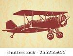 Vector Linocut Vintage Airplane ...