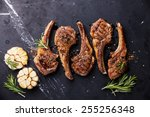 roasted lamb ribs with spices... | Shutterstock . vector #255256348