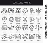 simple linear icons in a modern ... | Shutterstock .eps vector #255283135