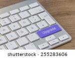 upgrade written on a large blue ... | Shutterstock . vector #255283606