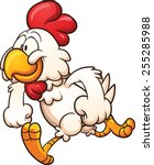 running cartoon chicken. vector ... | Shutterstock .eps vector #255285988