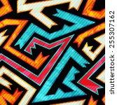 bright maze seamless pattern... | Shutterstock .eps vector #255307162