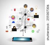 the concept of social network... | Shutterstock .eps vector #255307306