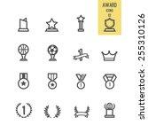 set of award icon. vector... | Shutterstock .eps vector #255310126