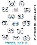 cartoon blue eyes with eyebrows ... | Shutterstock .eps vector #255316546
