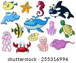 cartoon sea animals with happy... | Shutterstock .eps vector #255316996